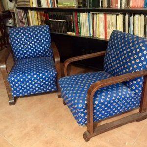 Pareja de sillones Art Decó restaurados y tapizados
