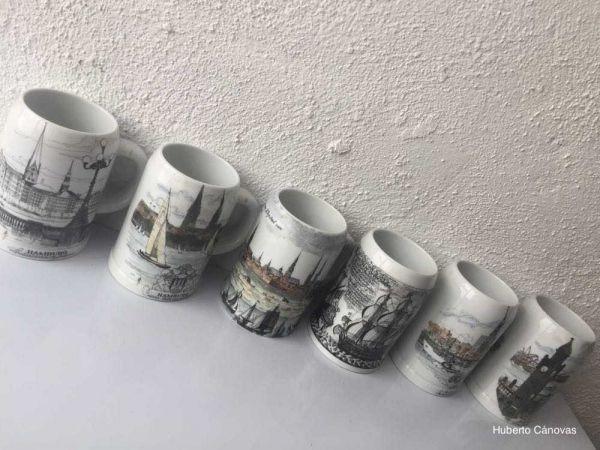 6 jarras de cerveza de cerámica alemanas