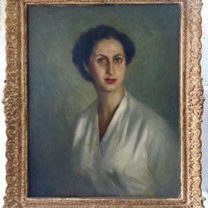 Óleo sobre lienzo Reyzábal Acebrón. Retrato dama murciana