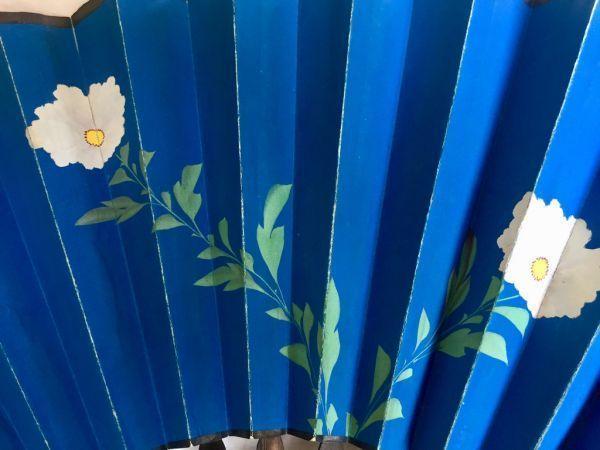 Pericón Abanico de papel pintado a mano madera lacada y nácar