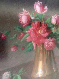 Bodegón de Vicente Paricio: jarrón con flores
